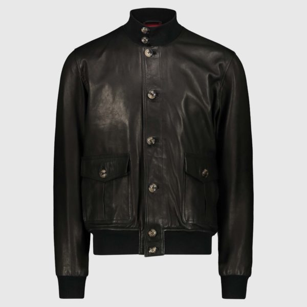 Black natural lambskin Bomber Jacket A1 Cary