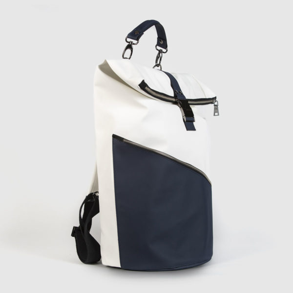 White and Blue Astron Hadley Backpack