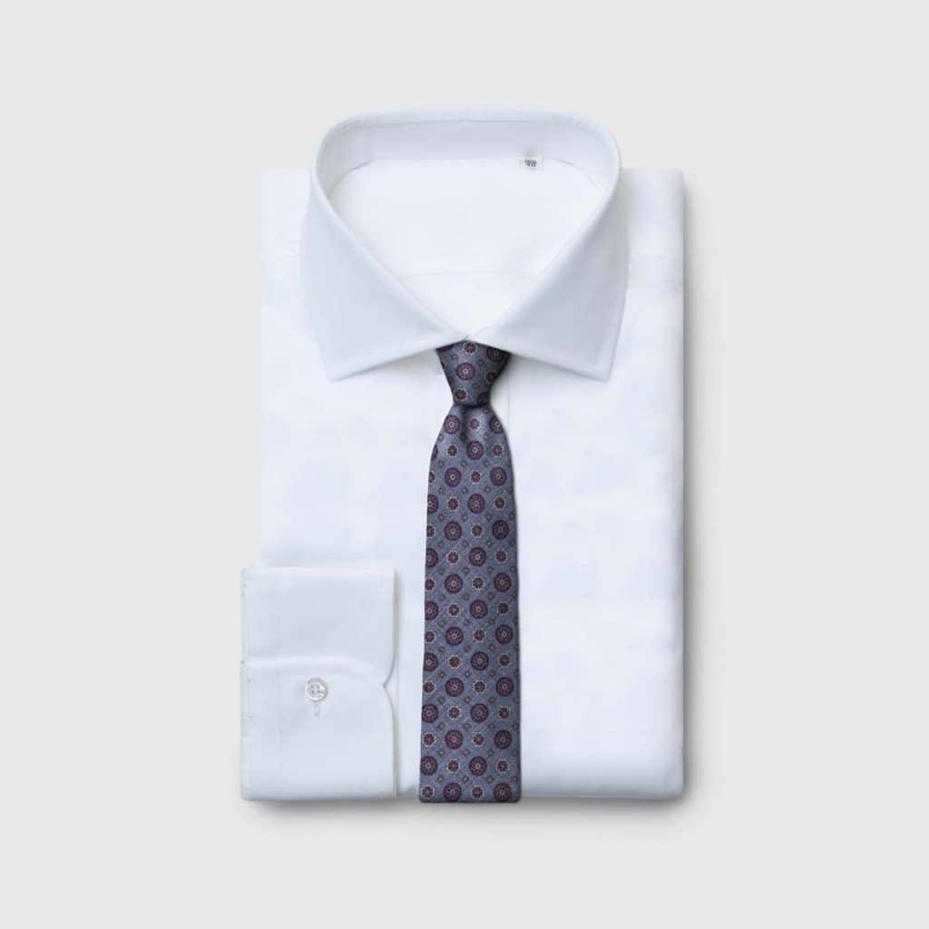 Cravatta rifinita a mano in Seta stampata blu