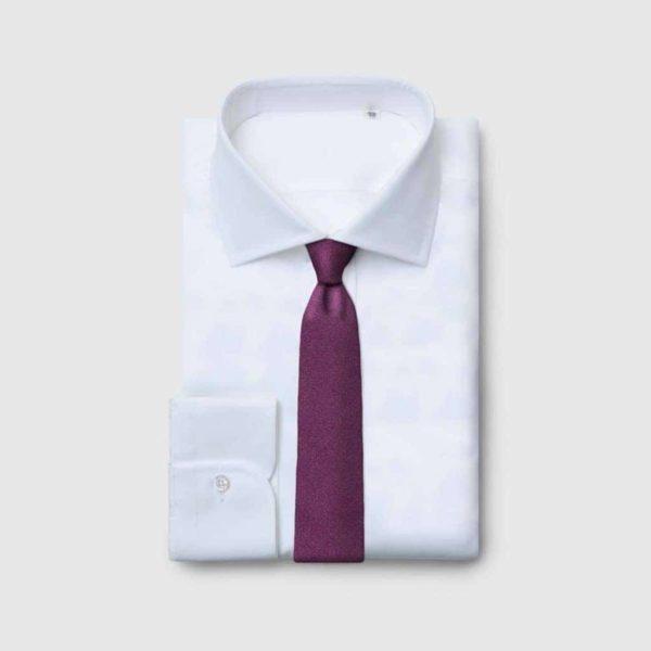 Cravatta rifinita a mano in Lana-Seta Purple