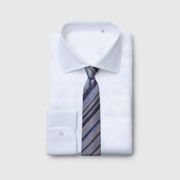Cravatta sfoderata in Seta Jacquard melange blue