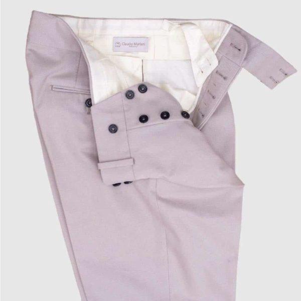 Pantalone a Vita Alta 100% Cotone Beige
