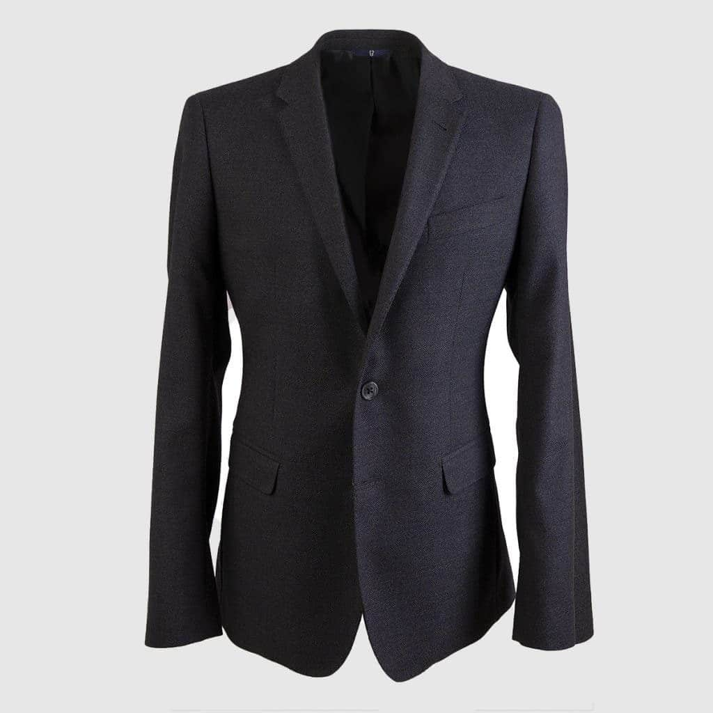 Gray Wool Single-Breasted Blazer