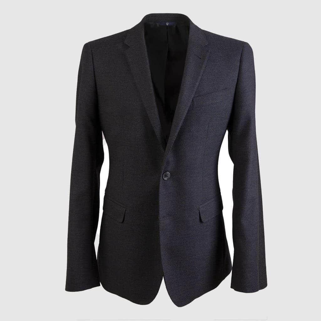 Gray Wool Single-Breasted Blazer
