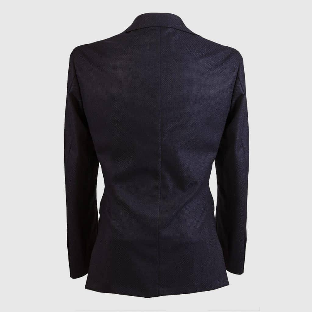 Blue Single breasted 100% Wool Hopsack