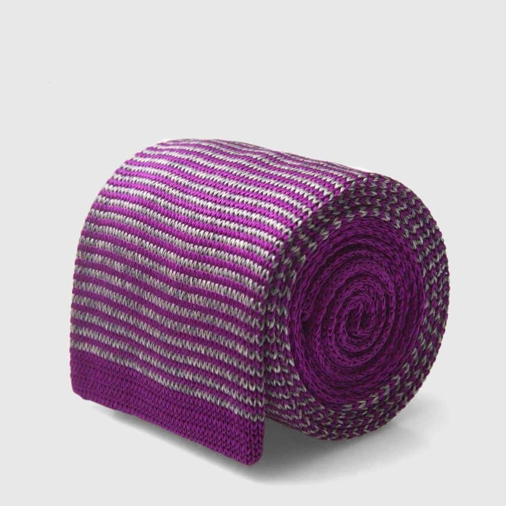 Knitted tie with thick weave in purple Silk