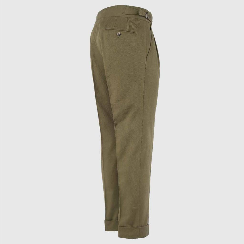 Military green double pleats cotton trousers