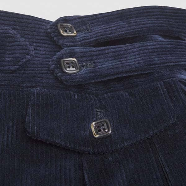 Two pleats blue corduroy trousers