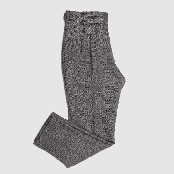 Herringbone Two pleats Flannel Trousers