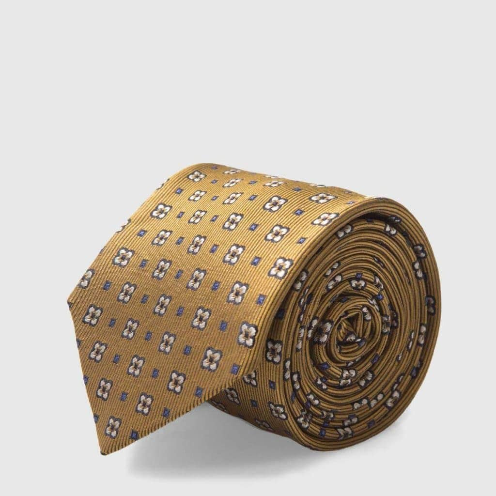 5 Fold Gold tie with iconic flowers and azure micro-fantasy