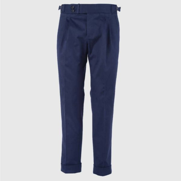Blue double pleats Cotton Trousers