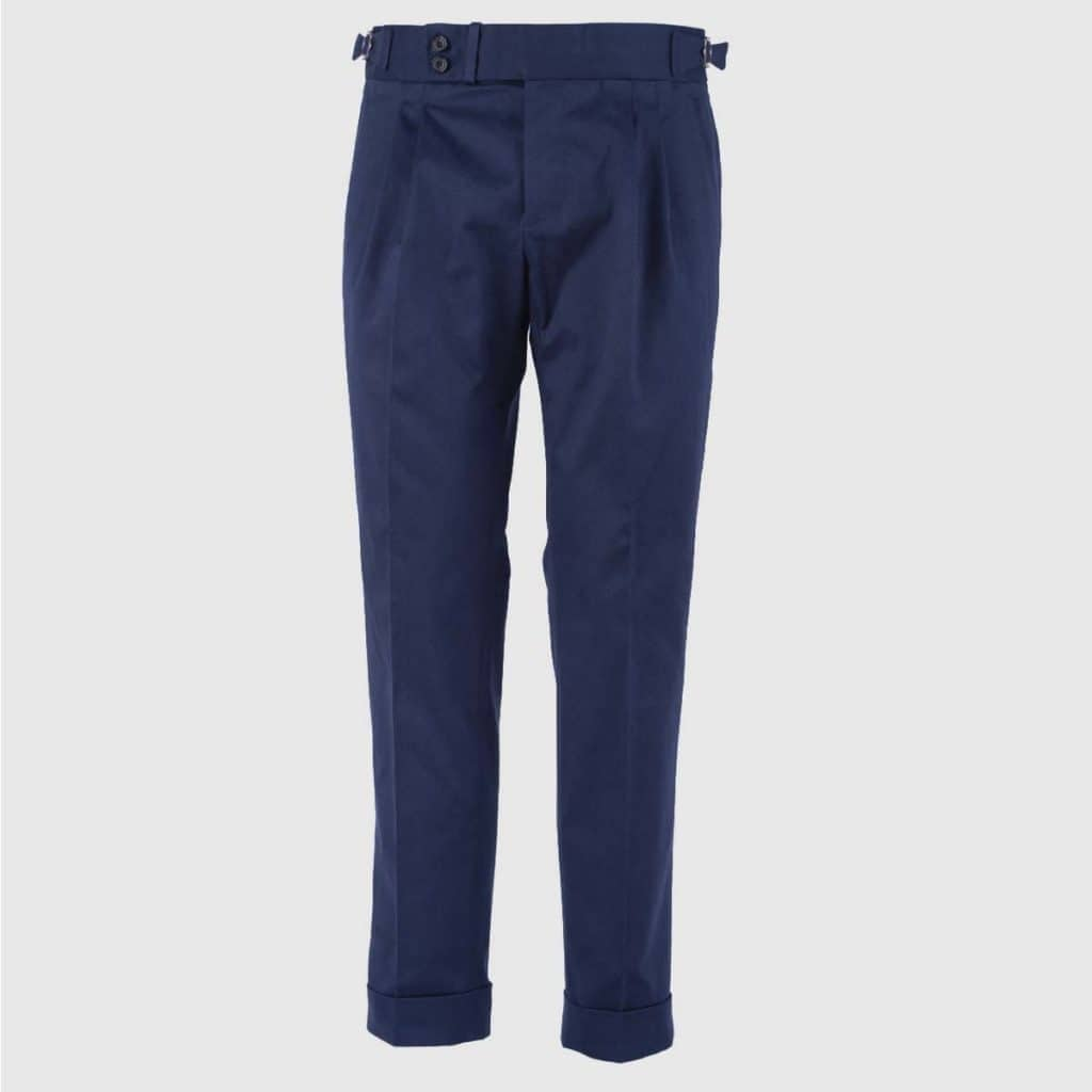 Blue double pleats Cotton Trousers