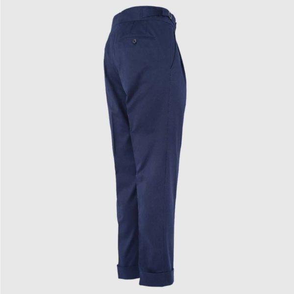 Pantalone vita alta 100% Cotone Blu