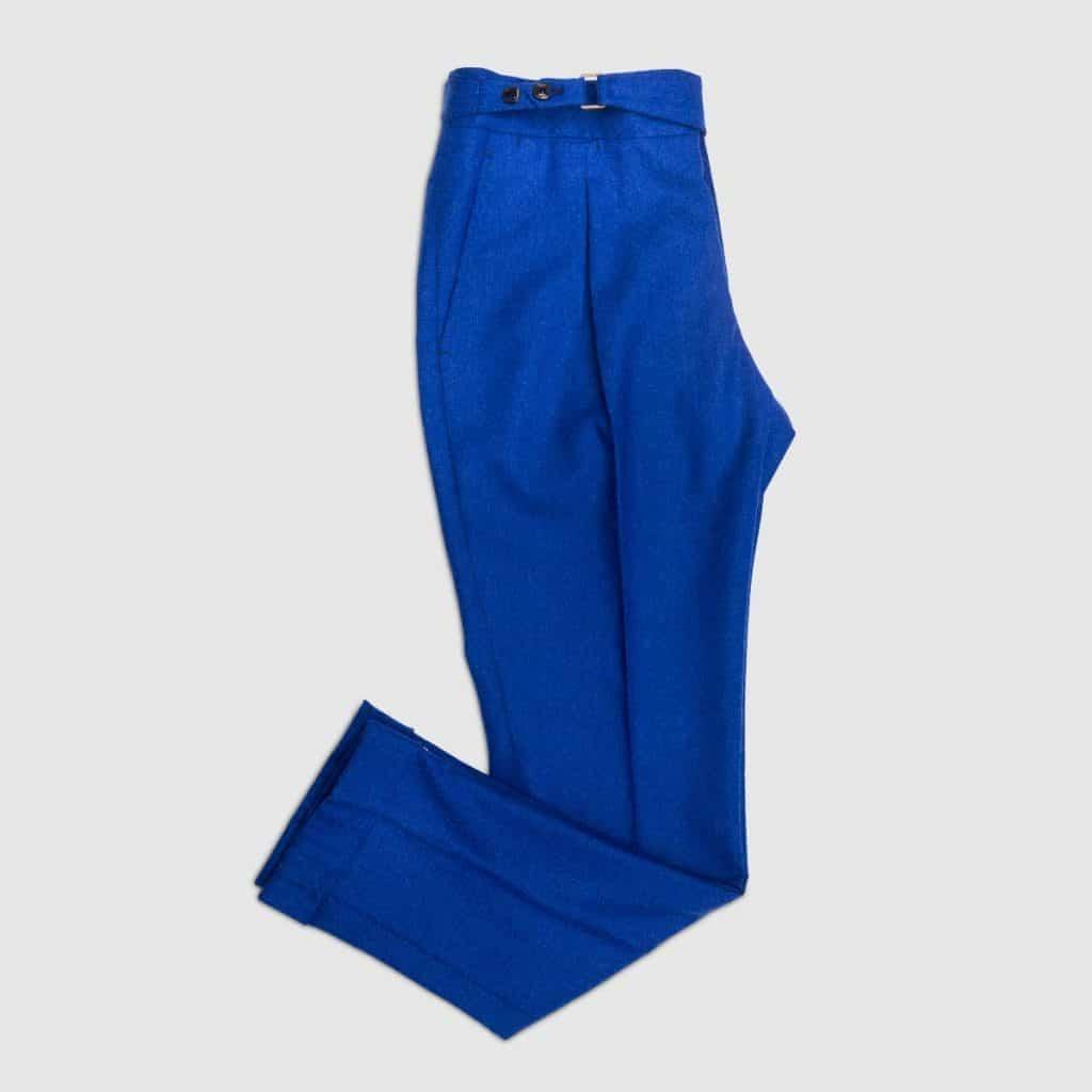 Blue flannel One pleat Trousers