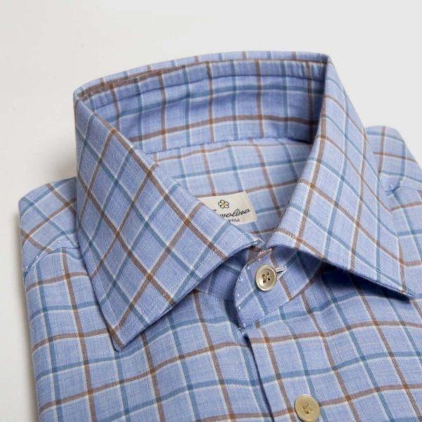 Camicia 12 passaggi a mano in flanella di lana con quadretti