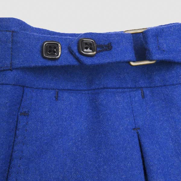 Blue flannel One pleat Trousers