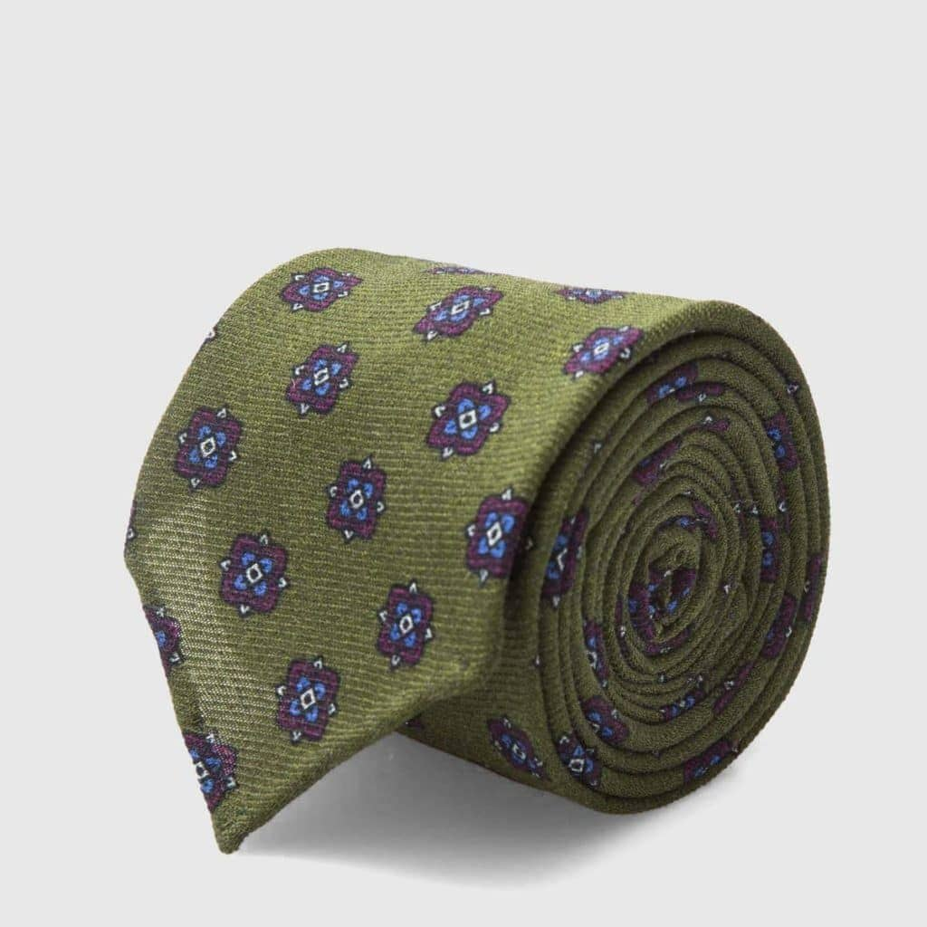 Unlined Green jacquard Silk Tie