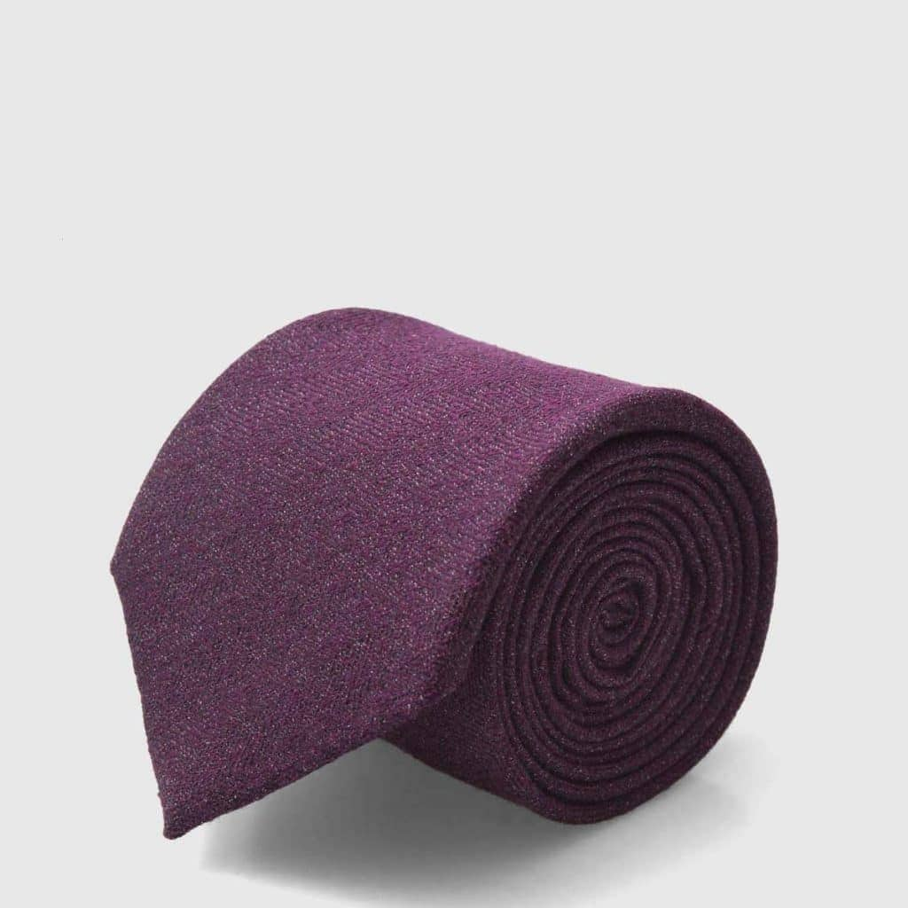 Plum-colored Wool and Silk blend Tie