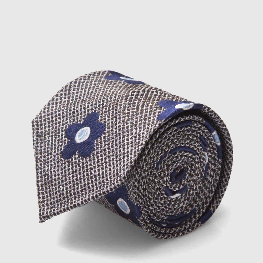 Cravatta rifinita a mano in Seta Jacquard Blue