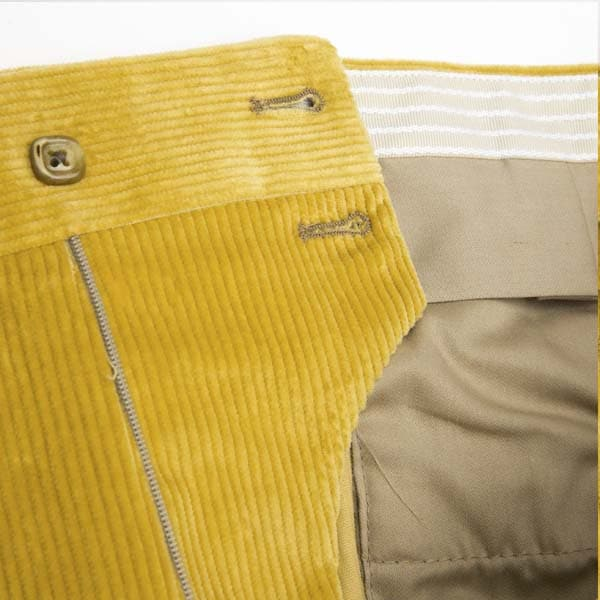 Yellow Corduroy One pleat Trousers