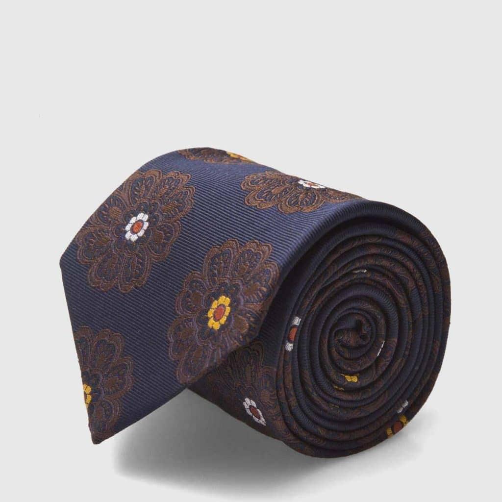 Cravatta 5 pieghe Fumagalli 1891 fondo blu con fiori