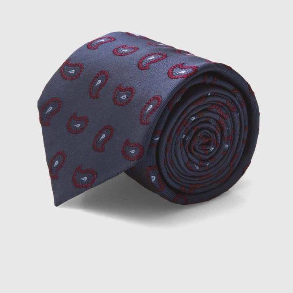 Cravatta rifinita a mano in Seta Jacquard con motivi Kashmir