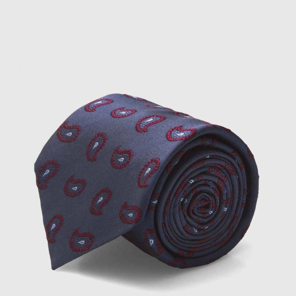 Blue Silk Tie with burgundy Paisley motif