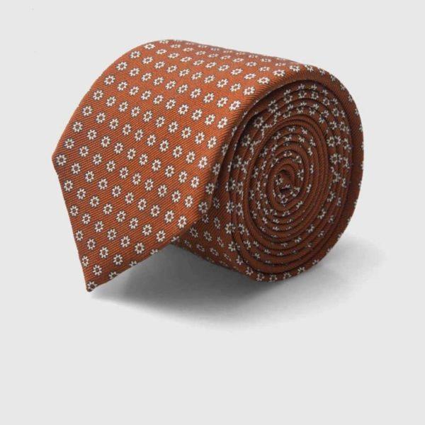 Cravatta Jacquard Seta Arancio con fiori iconici