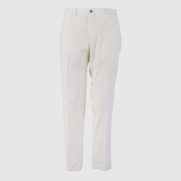 Pantalone Velluto a coste Bianco normal Fit