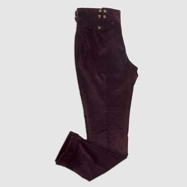 Purple Plum Corduroy One pleat Trousers