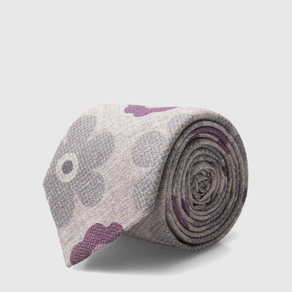 Grey Wool-Silk Tie with an iconic floral pattern