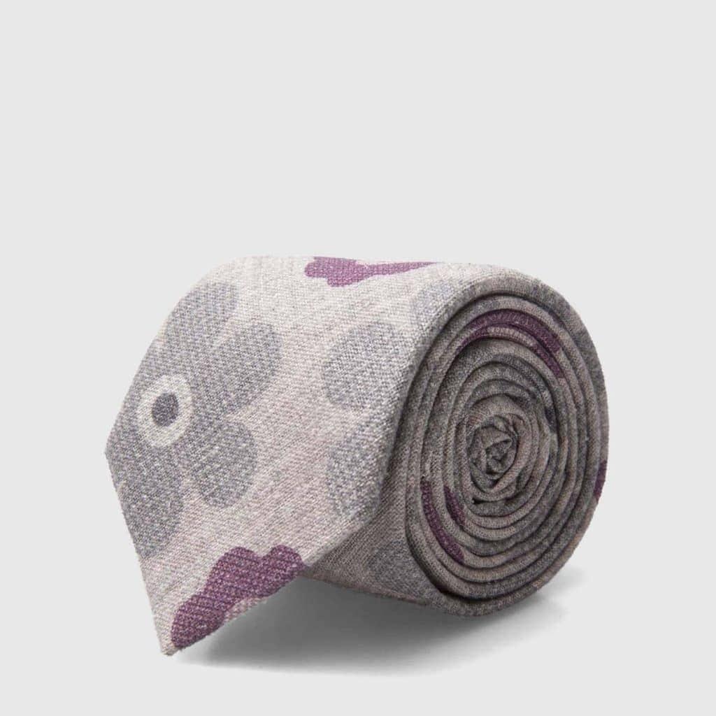 Cravatta in misto Lana Seta grigia con fiori iconici