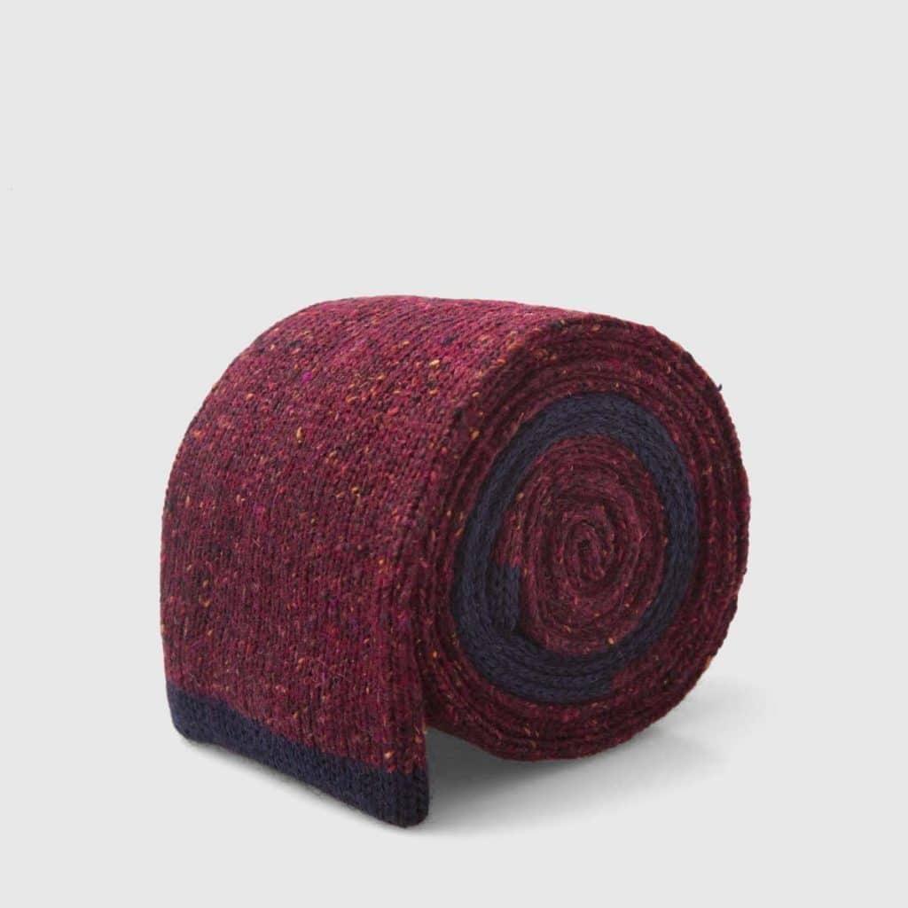Cravatta Tricot Rosso porpora in Lana-Nylon-Seta