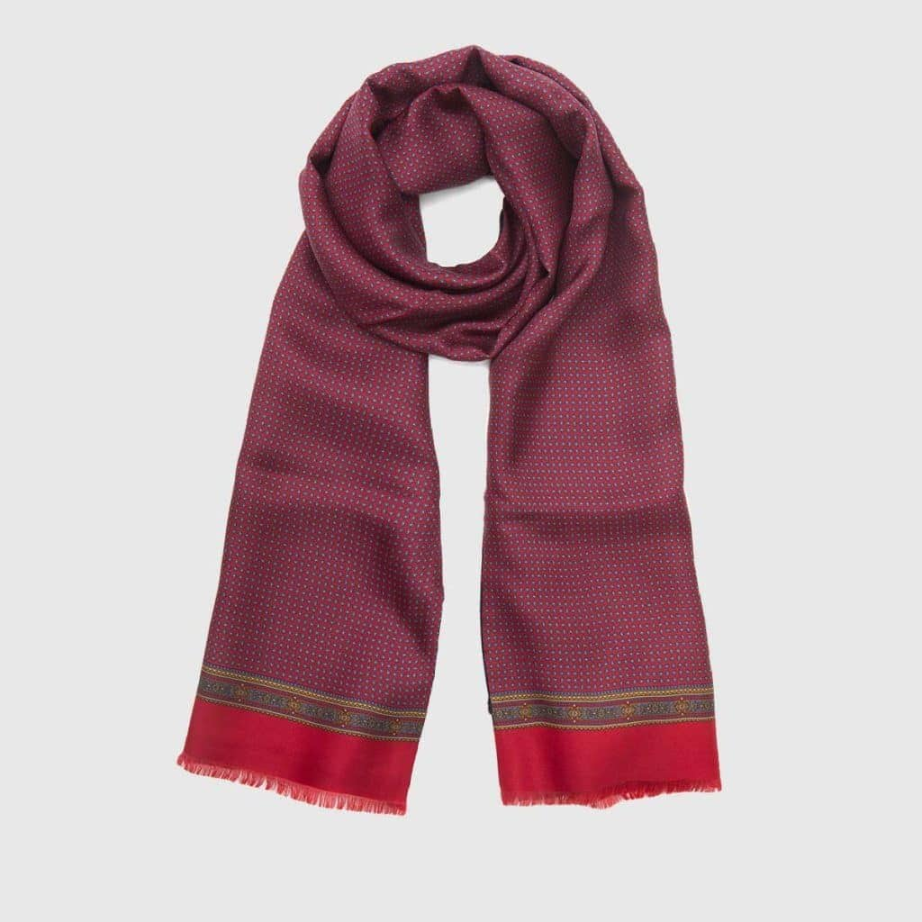 Fringed Red silk scarf with Baroque patterns