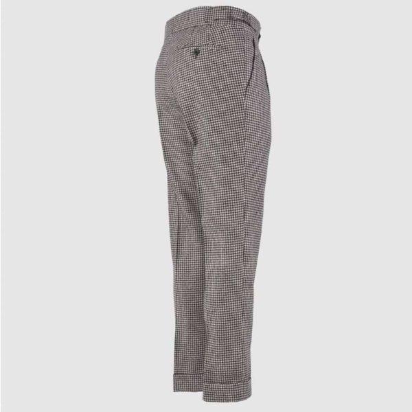 Pantalone 2 Pences 100% Flanella di Lana Marrone e Beige