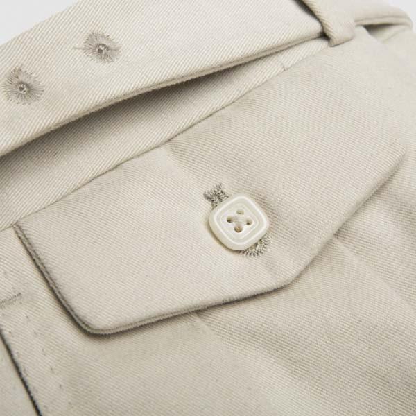 Beige one pleat Cotton Trousers