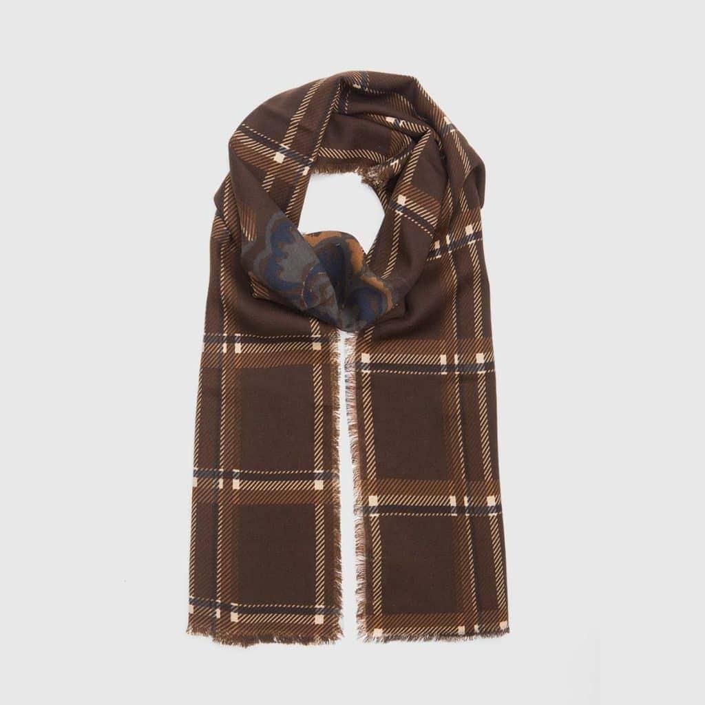 Brown Tartan Virgin wool Scarf