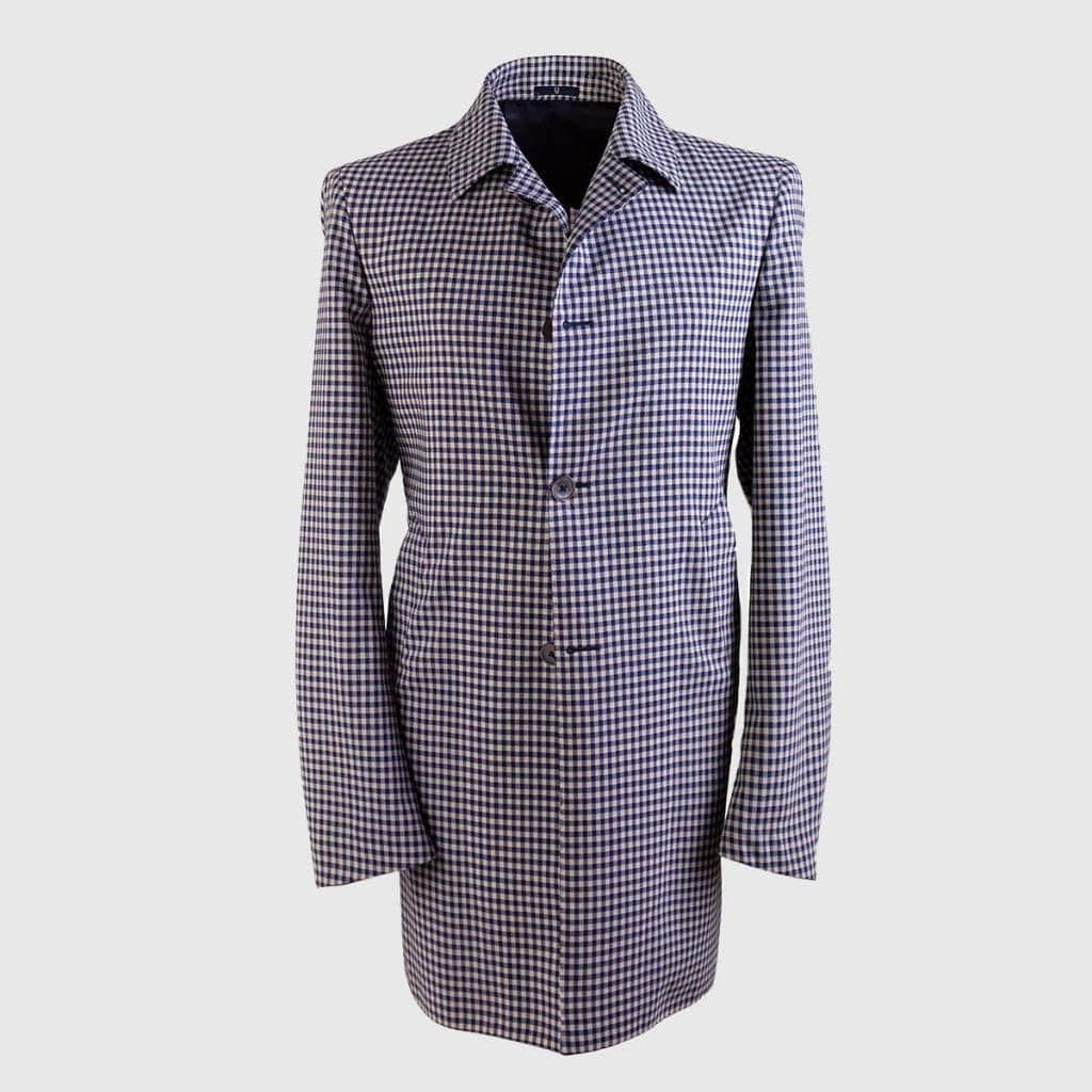 Blue & White Virgin Wool Overcoat