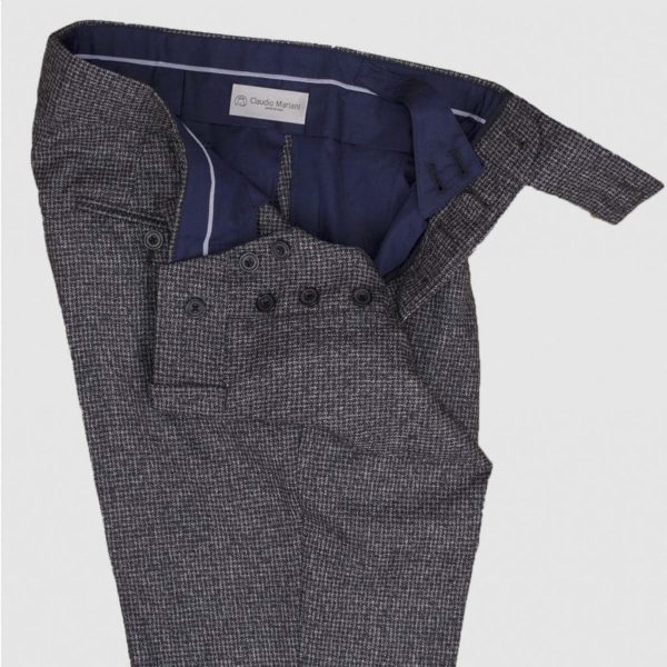 Blue and Brown Double Pleats 130'S Wool Trousers