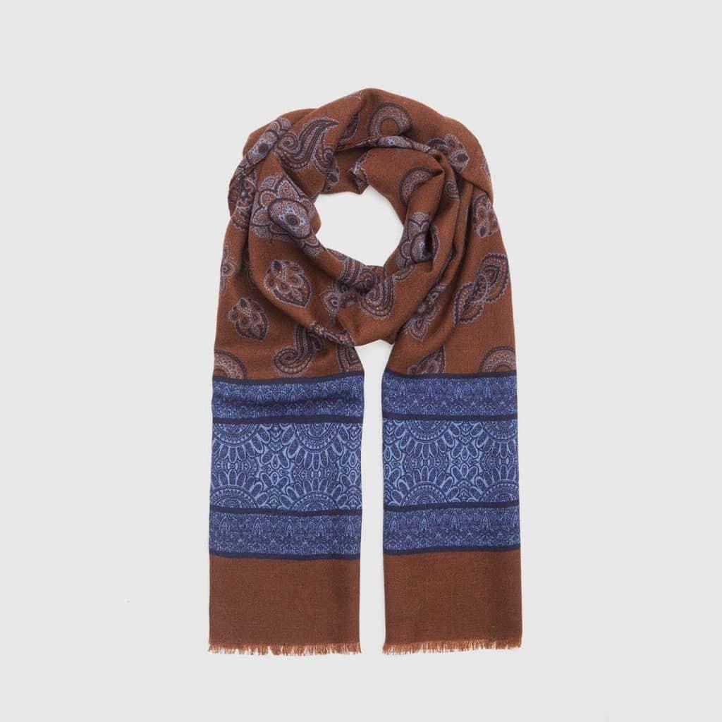 Brown Virgin Wool Scarf with Paisley pattern