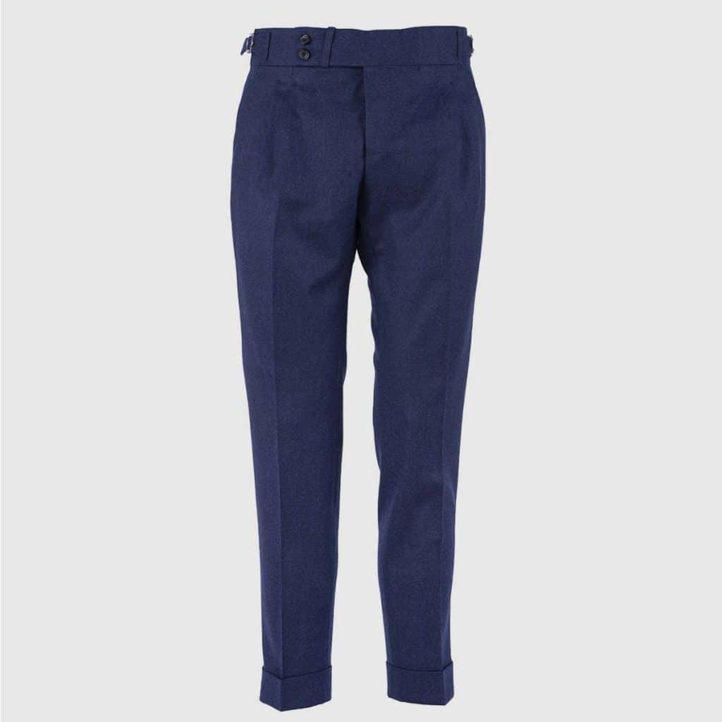 Pantalone 100% Flanella di Lana Blu
