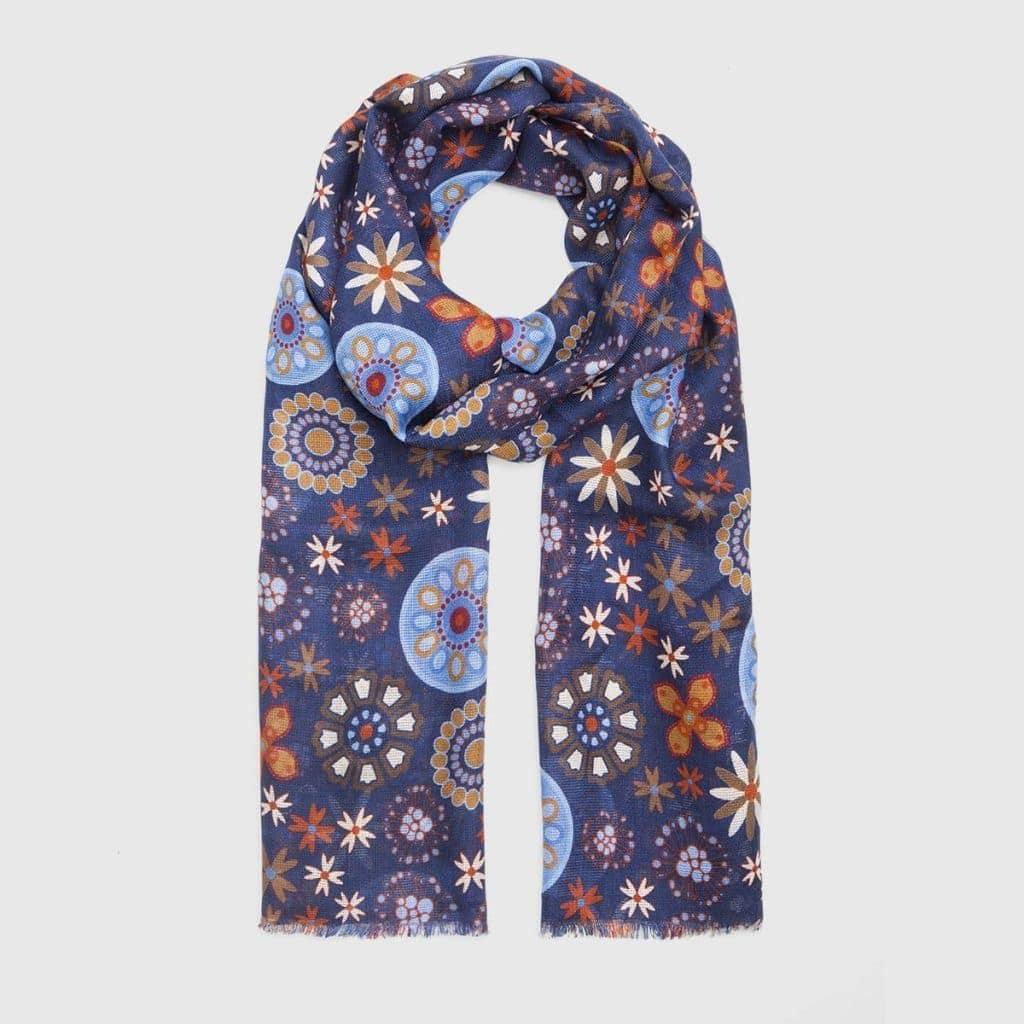 Blue navy Floral Silk-Wool Scarf