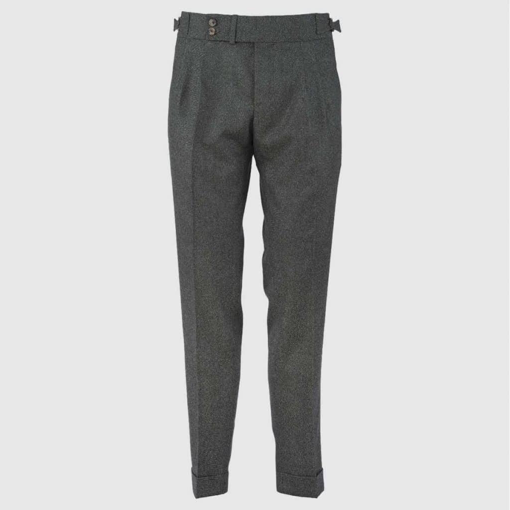 Green Flanel Double Pleats Trousers