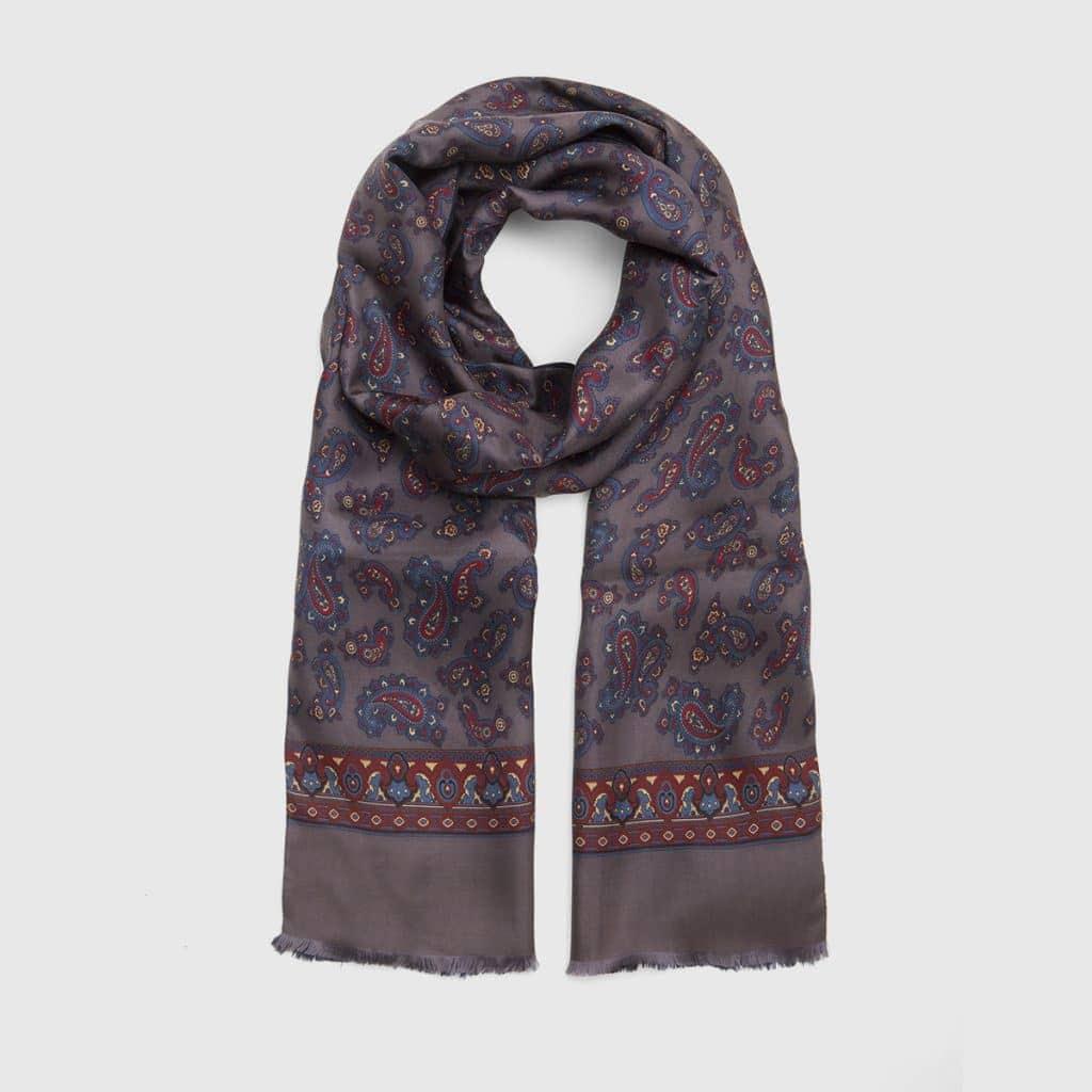 Aubergine Print Silk-Wool Kashmir pattern Scarf