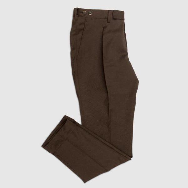 Pantalone Marrone 2 piences in Lana Tasmania Super 140s