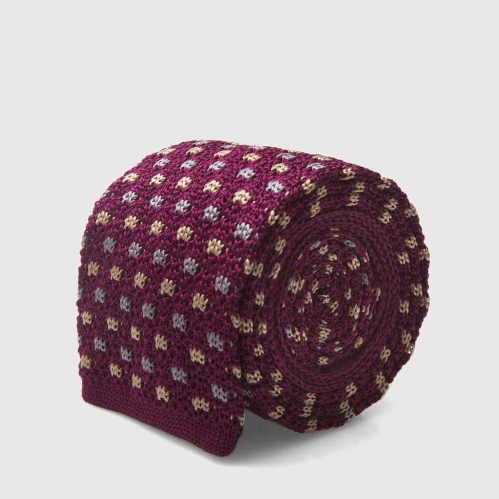Purple Polka dot Silk Knitted tie