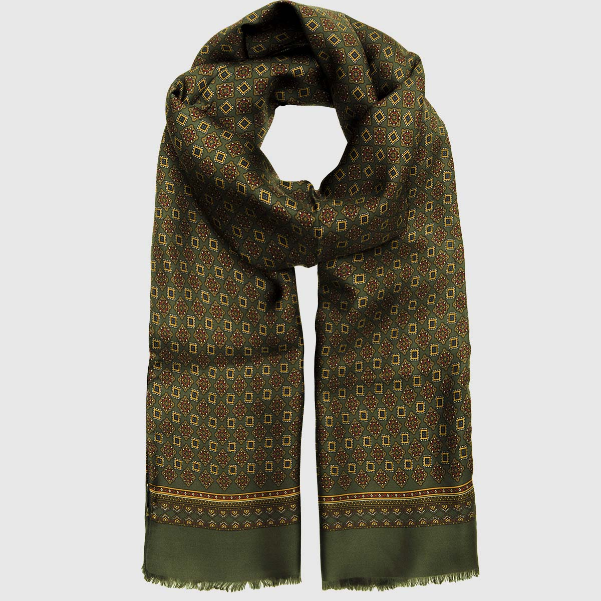 Dark Green Silk-Wool Mosaic Scarf