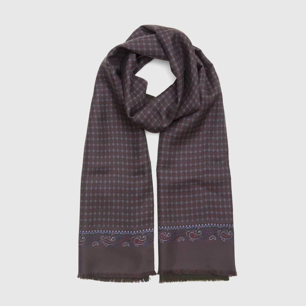 Aubergine Print Silk-Wool Scarf with Flower Pattern