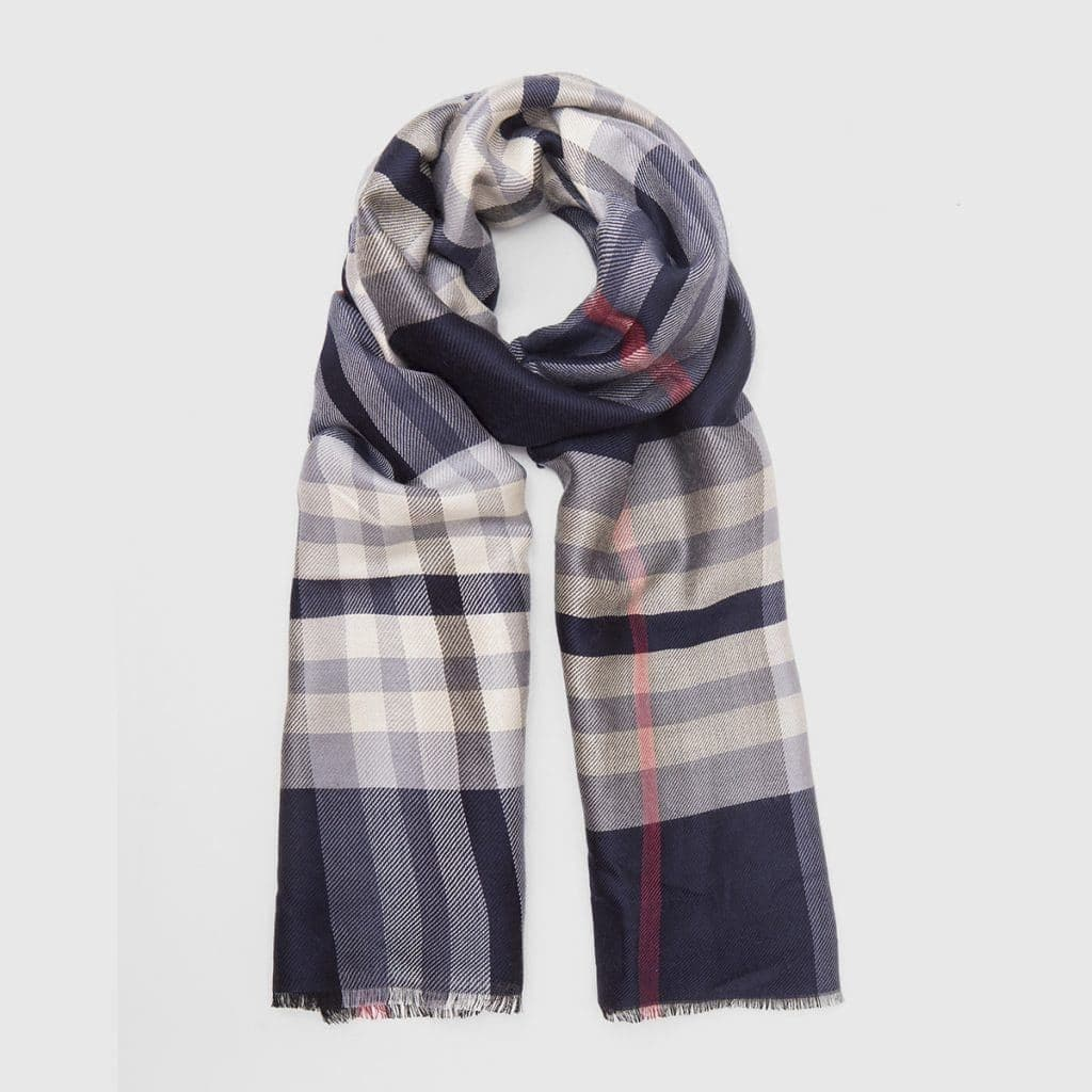 Blue and White Wool-Silk Scarf