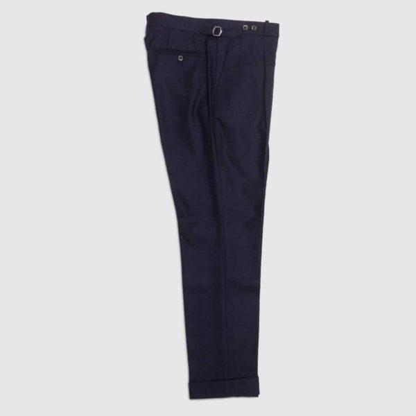 Pantalone blu navy in flanella di Lana